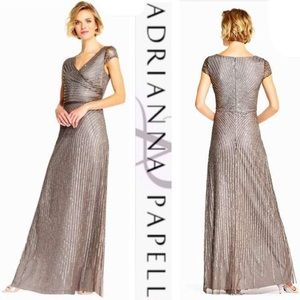 Adrianna Papell wrap front cap sleeve beaded gown